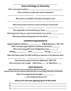 College Research Sheet