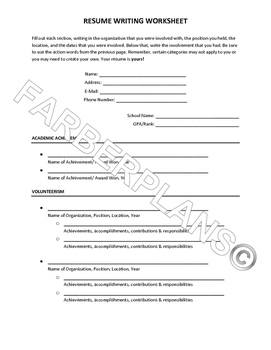 College Resume Writing Packet & Worksheet