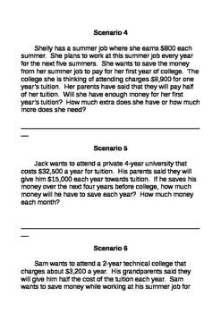 College Saving Scenarios TEK 8.12G