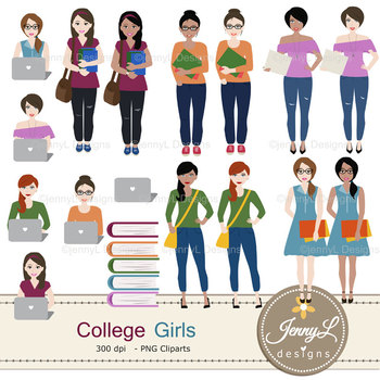 College Student Girls Digital papers and clipart SET