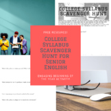 College Syllabus Scavenger Hunt for Senior English