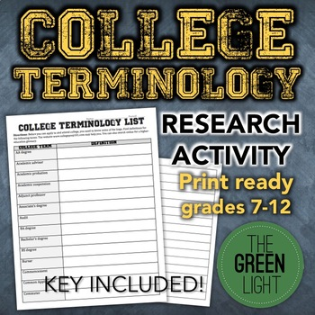 College Terminology Worksheet Activity With Answer Key -- College Research
