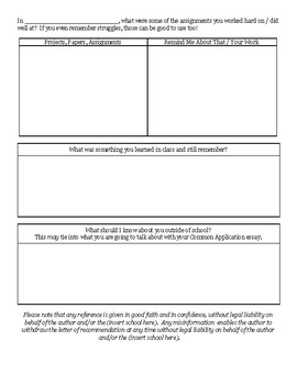 College / University Letter of Recommendation Form