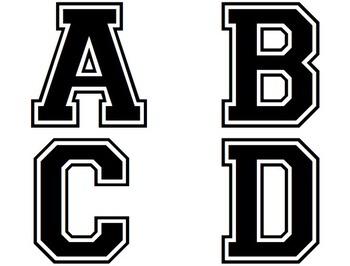 College Varsity Style Alphabet Printable