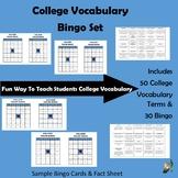 College Vocabulary Bingo - 30 Bingo Cards & 50 College Vocab Terms w/ Definition