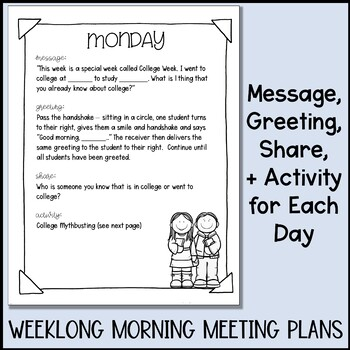 College Week Activities With Morning Meeting Lesson Plans