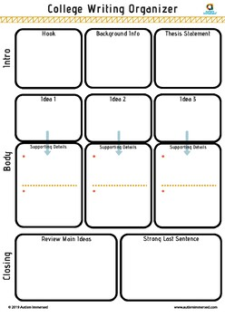 College Writing Organizer - Fillable