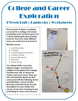 College and Career Exploration Research Elementary Lapbook and 7 week Unit