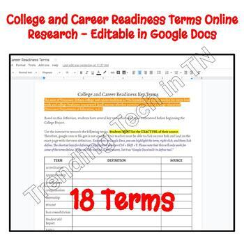 College and Career Readiness Activity - Editable in Google Docs