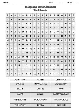 College and Career Readiness Word Search