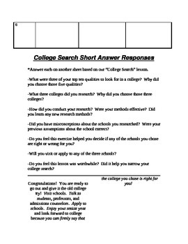 College research, evaluation, and selection internet project worksheet