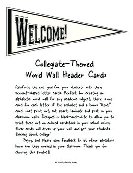 Collegiate-Themed Word Wall Header Cards: Black and White