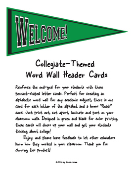 Collegiate-Themed Word Wall Header Cards: Green