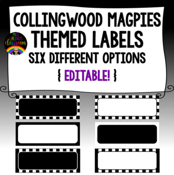 Collingwood Magpies Themed Labels {Editable!}