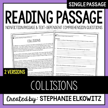 Collisions Reading Passage