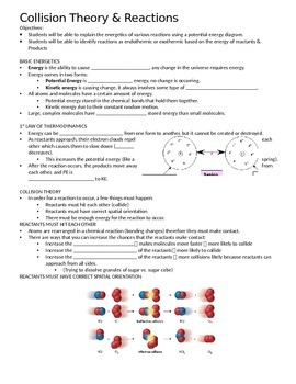 Collision Theory and Reactions Guided Notes (Goes along with PowerPoint)