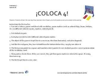 Coloca 4! Vocabulary Review Game