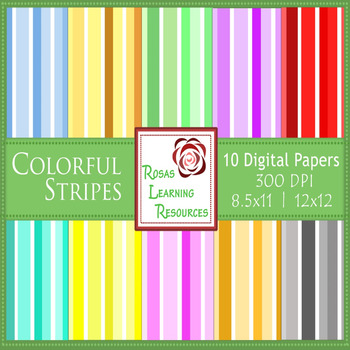 Coloful Stripes Digital Papers Set {8.5x11 and 12x12}