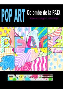 Colombe de la PAIX à la manière POP ART- Feuilles de coloriage