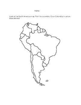 Colombia Map Worksheet!