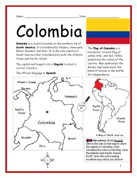 COLOMBIA - Printable handouts with map and flag