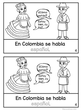 Colombia Reader & vocab pages in English & Spanish {Bilingual bundle}