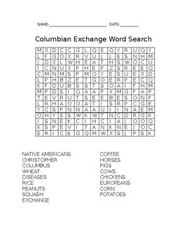 Colombian Exchange Word search