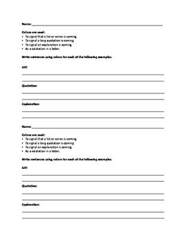 Colon Grammar Practice Worksheet