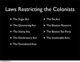 Colonial Acts and American Revolution Project