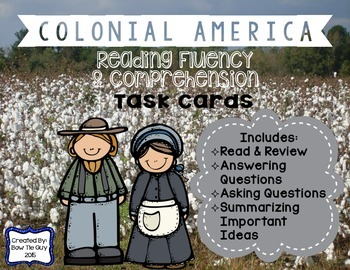 13 Colonies Reading Comprehension & Fluency Task Cards abo