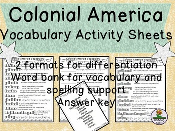 Colonial America 13 Colonies Vocab Activities