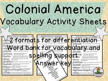 Colonial America 13 Colonies Vocab Activities