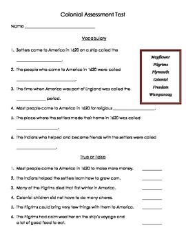 Colonial America Assessment