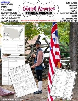 13 Colonies & Colonial America Test Pack {Constructed Response Included}