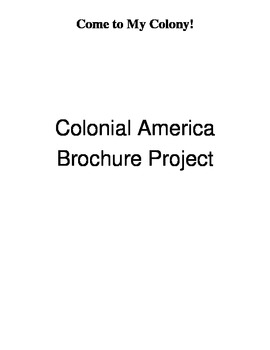 Colonial America Brochure Project