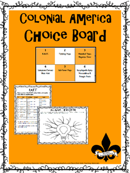 Colonial America Choice Board