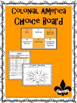 Colonial America Choice Board
