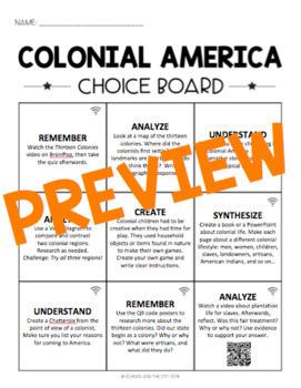 Colonial America Choice Board - Editable