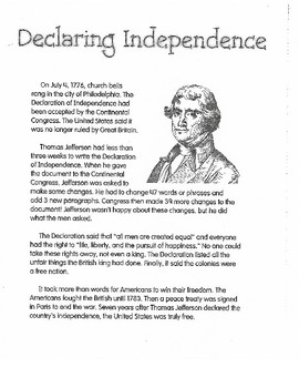 Colonial America Declaring Independence