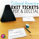 Colonial America Exit Tickets Set 13 Colonies Colonial Regions