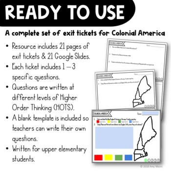 Colonial America Exit Tickets Set 13 Colonies Colonial Regions