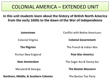 Colonial America - Extended Unit