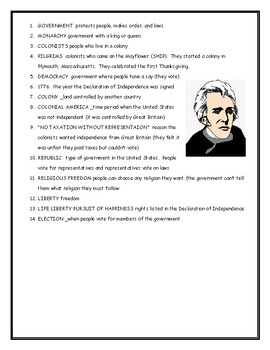 Colonial America Fill in the Blanks Worksheet with Answer Key
