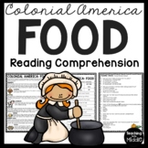 Colonial America Food Reading Comprehension Worksheet