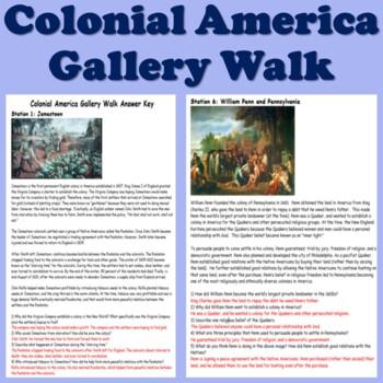 Colonial America Gallery Walk (13 Colonies)