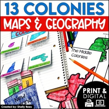 Colonial America Interactive Notebook and Mini Unit - 13 Colonies Maps