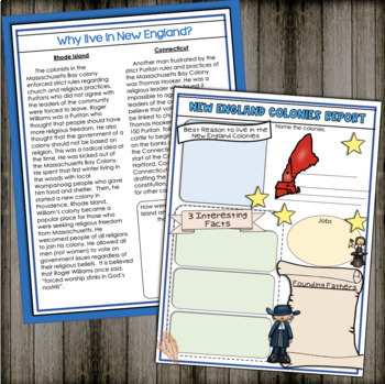 Colonial America: New England Colonies Informational Text and Activities