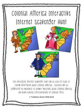 Colonial America Interactive Internet Scavenger Hunt
