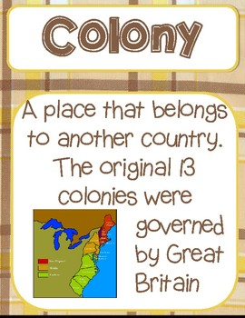Colonial America Vocabulary Word Wall