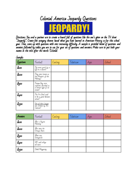 Colonial America Jeopardy